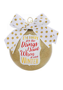 I'm Sorry For The Things I Said, It Was Winter Glass Ornament