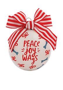 Peace Joy Wags Glass Ornament