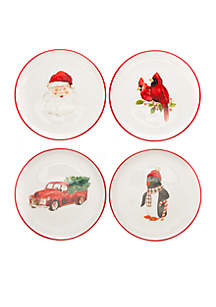 Holiday Appetizer Plate, Set of 4