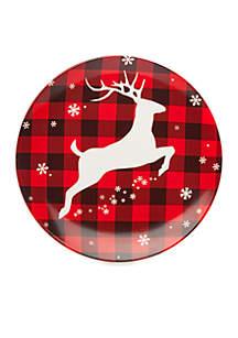 Plaid Deer Cookie Plate