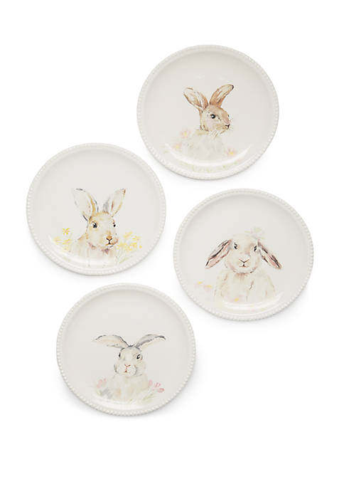 Easter Set of 4 Bunny Salad Plates