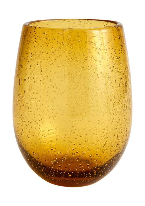 Amber Bubble Double Old Fashioned Glass