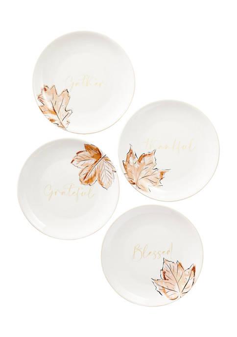 Ceramic Gold Salad Plates - Set of 4