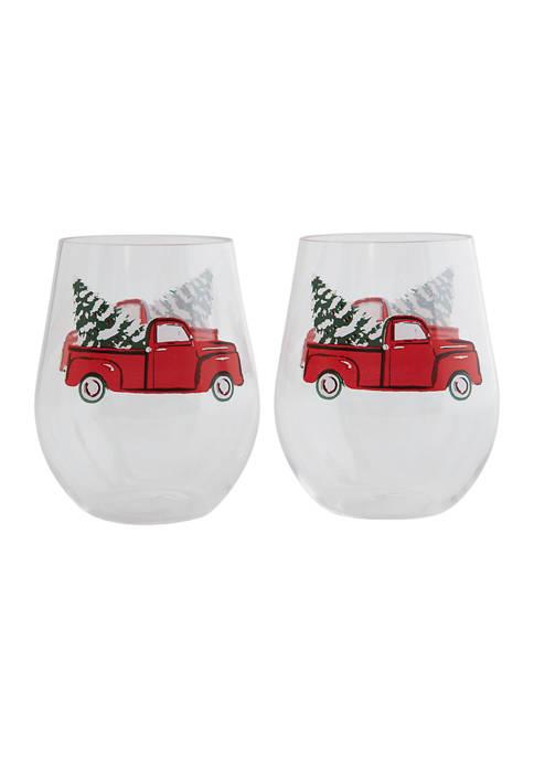 Set of 4 Truck Stemless Wine Glasses