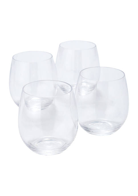 Set of 4 16 Ounce Stemless Wine Glasses