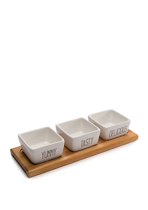 3 Piece Dip Bowl Set with Tray