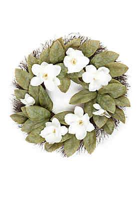 Clearance artificial silk flower arrangements belk modern southern home magnolia and twig wreath mightylinksfo