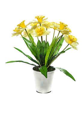 Artificial silk flower arrangements belk modern southern home easter daffodil in galvanized pot mightylinksfo