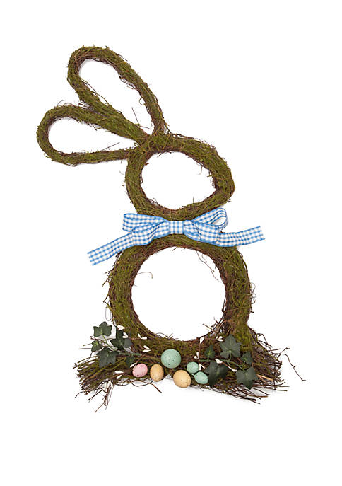 Natural Gingham Bunny Wreath