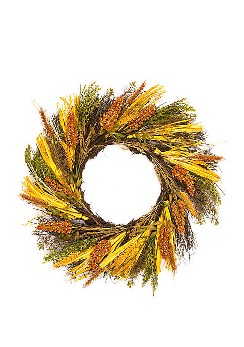Faux Wheat Corn Wreath