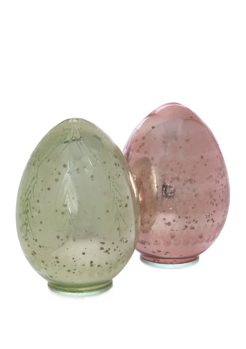 Set of 2 Etched Glass Eggs