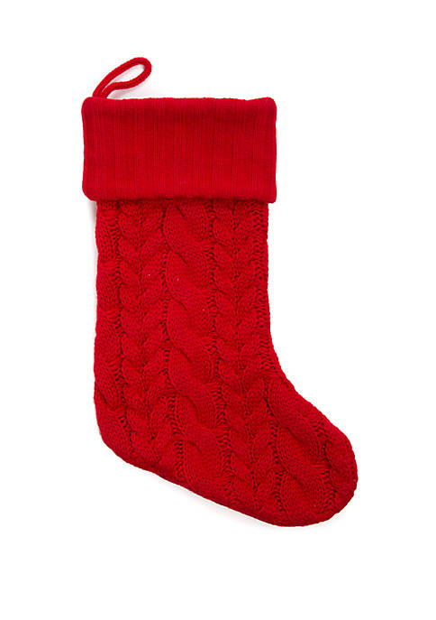 Red Knit Tree Stocking