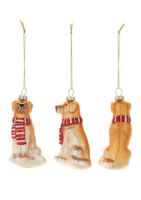 Joyland Woodland Winter Set of 3 Glass Dog