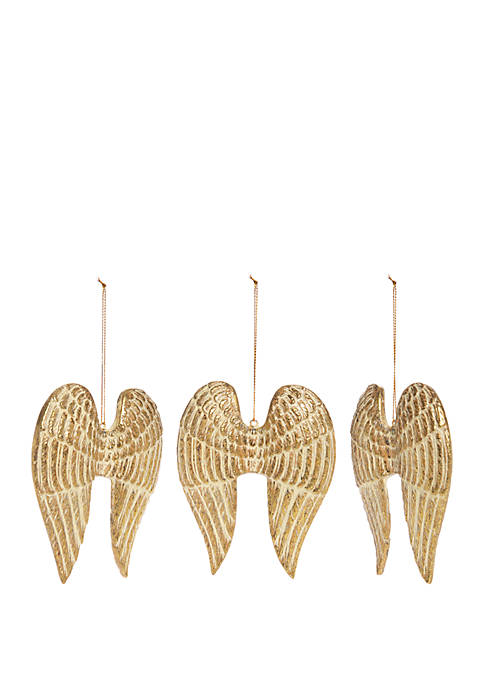 Tidings of Joy Set of 3 Angel Wing Ornaments