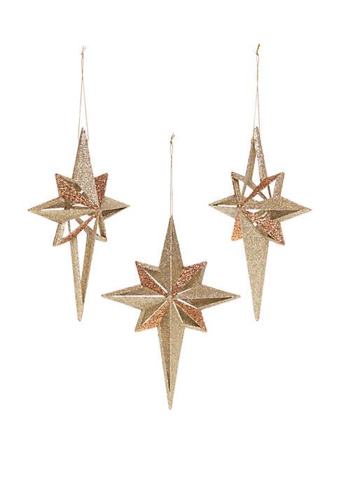 Tidings of Joy Set of 3 Glitter Star Ornaments
