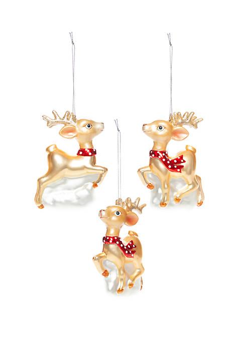 Joyland Christmas Traditions Set of 3 Reindeer Ornaments