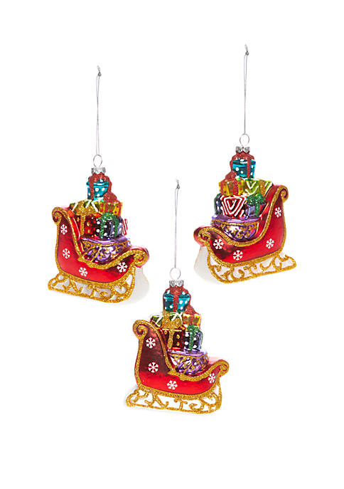 Christmas Traditions Set of 3 Sled Ornaments