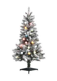Joyland 4 Foot Flocked Multi Color Pre-Lit Tree