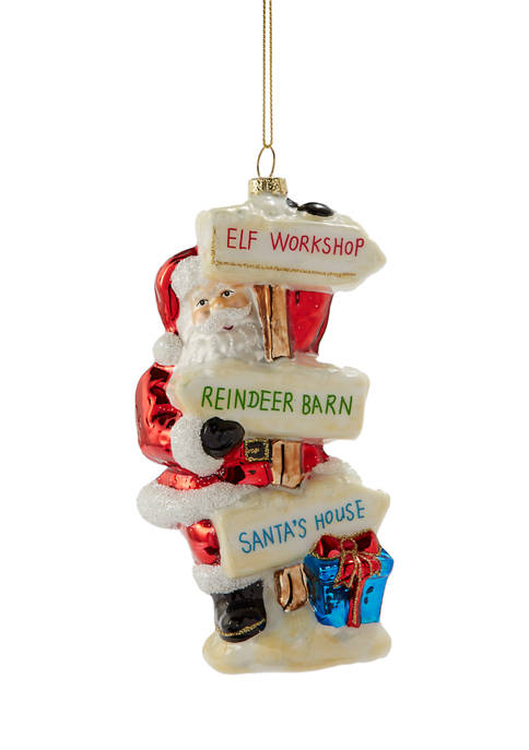 Joyland Santa Sign Ornament