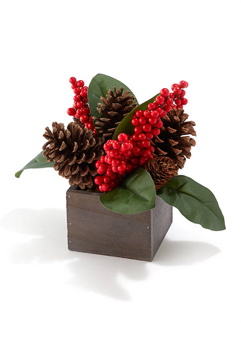Joyland Pine Cone Berry Wood Pot Accent Piece
