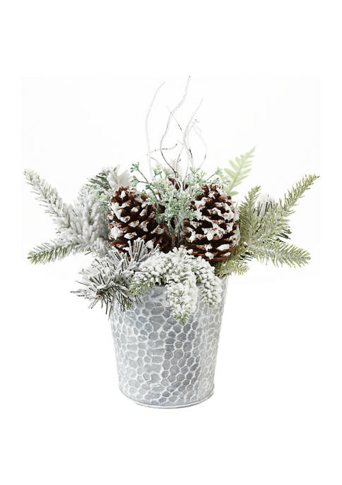 Pinecones and Twigs Decorative Pot