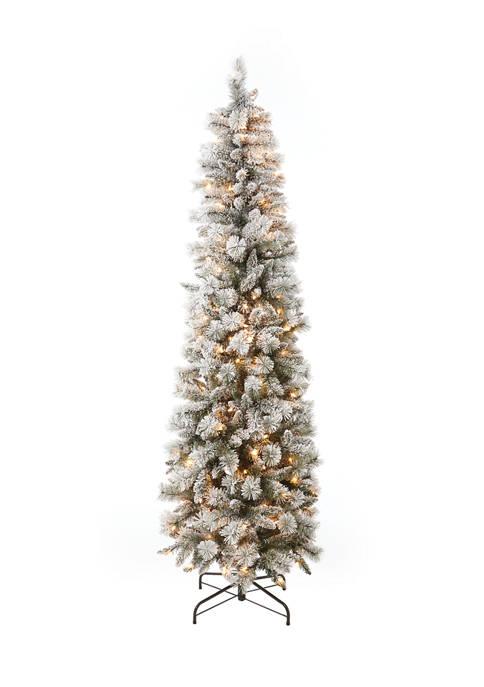 7.5 Foot Pre Lit Flocked Pencil Tree