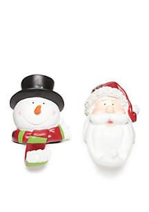 Christmas Past Snowman And Santa Stocking Holder Set