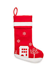 Cozy Christmas Red House Stocking