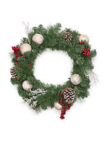 Cozy Christmas Faux Birch Wreath