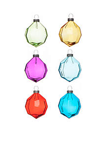 Merry & Bright Set of 6 Faceted Ornaments