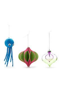 Merry & Bright Set of 3 Ornaments