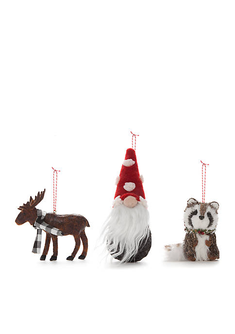Cozy Christmas Set of 3 Ornaments - Moose, Gnome and Raccoon