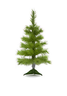 2 ft Pre-Lit White With Green Flocking Tree