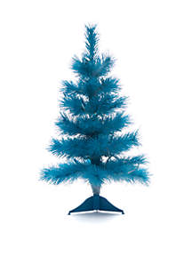 2' Pre-Lit White With Turquoise Flocking Tree