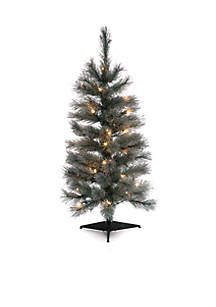 3 pre lit christmas tree with silver glitter