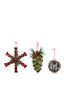 Cozy Christmas 3-Piece Ornaments Set