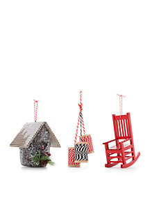 Cozy Christmas Set of 3 Ornaments - Birdhouse, Spools of Thread and Rocking Chair