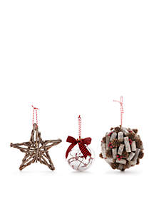 Cozy Christmas Set of 3 Ornaments - Twig Star, Berries Globe and Forest Ball