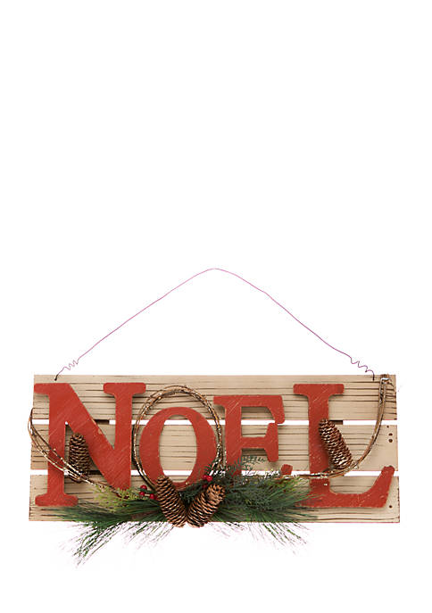 Woodland Winter Red Noel Sign