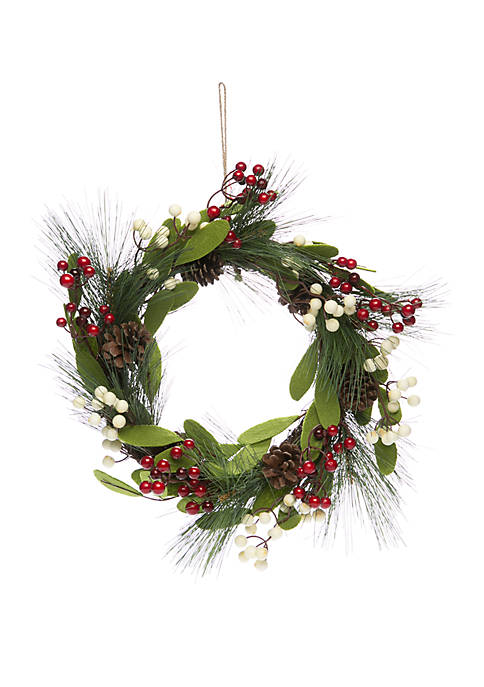 Joyland Woodland Winter White & Berry Pine Wreath