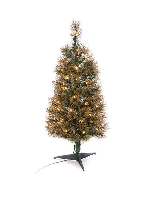 3 Foot Pre Lit Hard Needle Tree With Stand