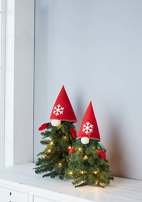 Set of 2 Pre LIt 24 Inch and 28 Inch Gnome Trees