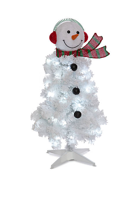 Joyland 3 Foot Pre Lit Flocked Snowman Tree