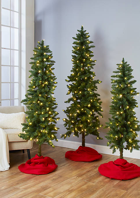 Joyland Set of 3 Pre Lit Slim Trees