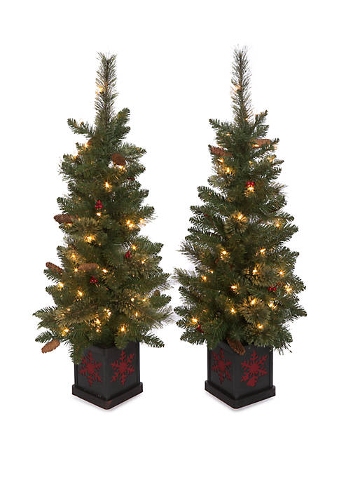 4 Foot Pre Lit Decorated Porch Tree Set of 2