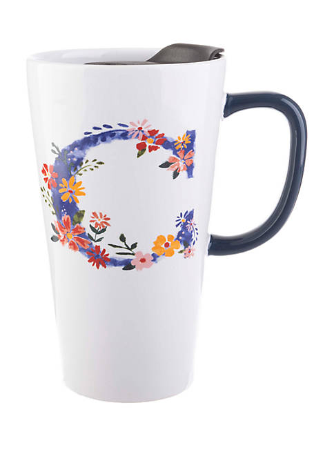 13 Ounce Latte Mug with Lid Monogram C