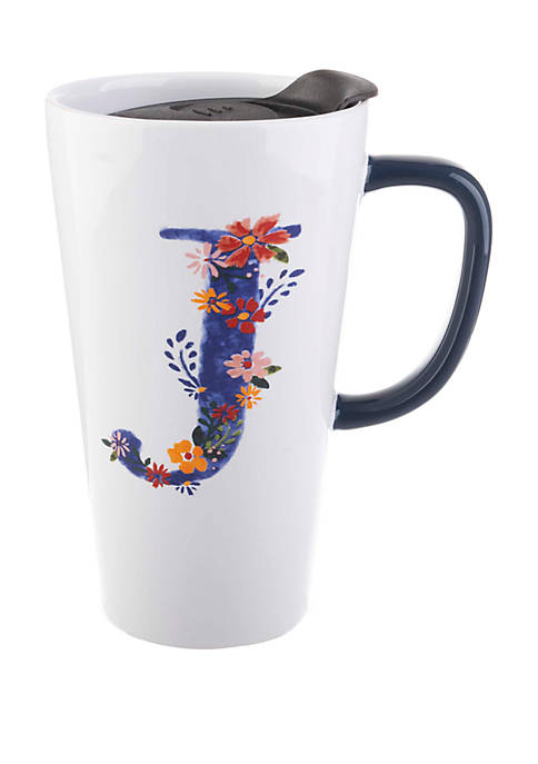 13 Ounce Latte Mug with Lid Monogram J