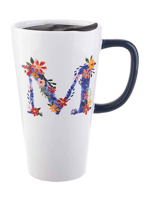 13 Ounce Latte Mug with Lid Monogram M