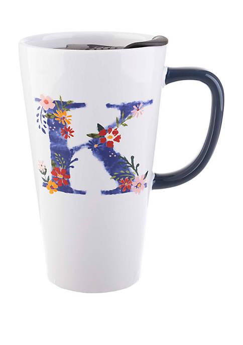 13 Ounce Latte Mug with Lid Monogram K