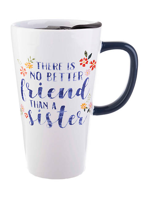 13 Ounce Latte Mug with Lid - No Better Friend Than Sister